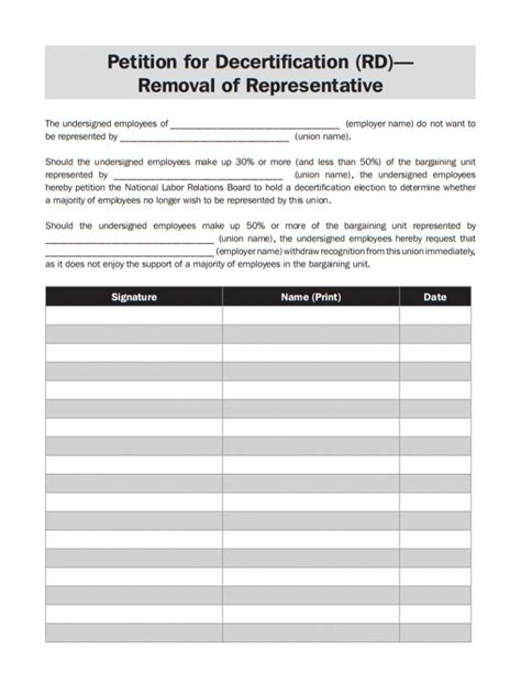 template of union 10 printable petition template exles templates assistant