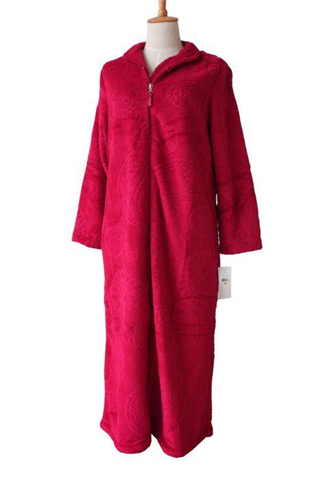 femme en robe de chambre european style zipper coral velvet