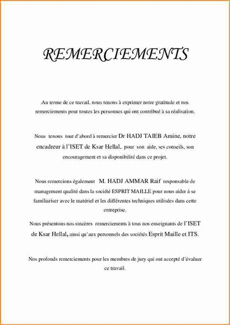 Exemple De Lettre De Remerciement Pour Mémoire 5 Exemple De Remerciement Rapport De Stage Exemple Lettres