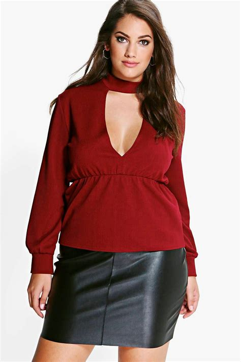 Top Roses Peplum 13277 boohoo womens plus choker detail peplum top ebay