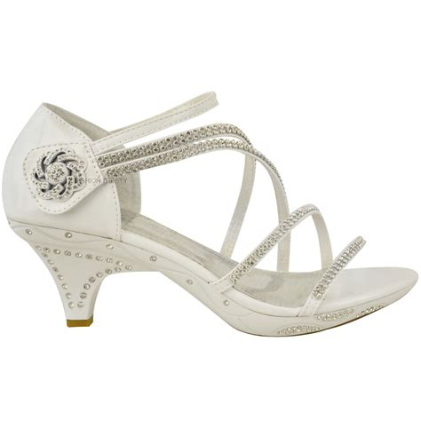 Strappy Bridal Shoes by Womens Low Heel Diamante Bridal Wedding Sandals
