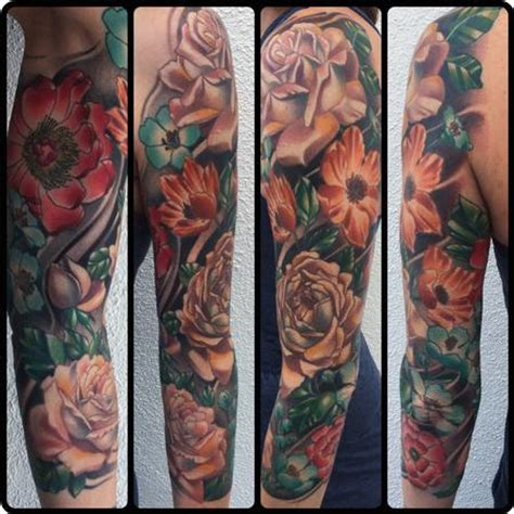 tattoo junkies realistic color flower sleeve brent