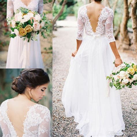 Fancy Brukat Top 2016 boho sheath wedding dress with sheer sleeves v neck backless plus size floor