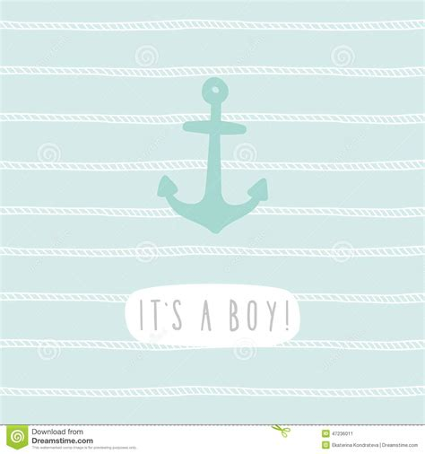 it s a wonderful card template it s a boy anchor greeting card template stock vector