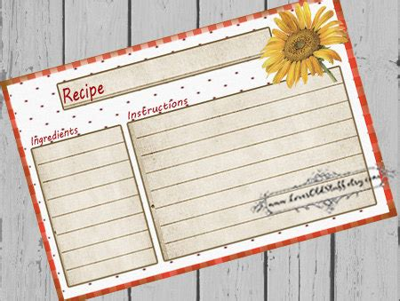 Recipe Card Gift Ideas - printable blank recipe cards 3x5 4x6 recipe cards for bridal shower 3 5x5