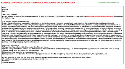 Finance Letter Of Offer Finance Coop Offer Letters