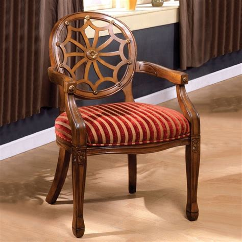 edinburgh accent chair antique oak finish solid wood arm chair web carved deco ebay