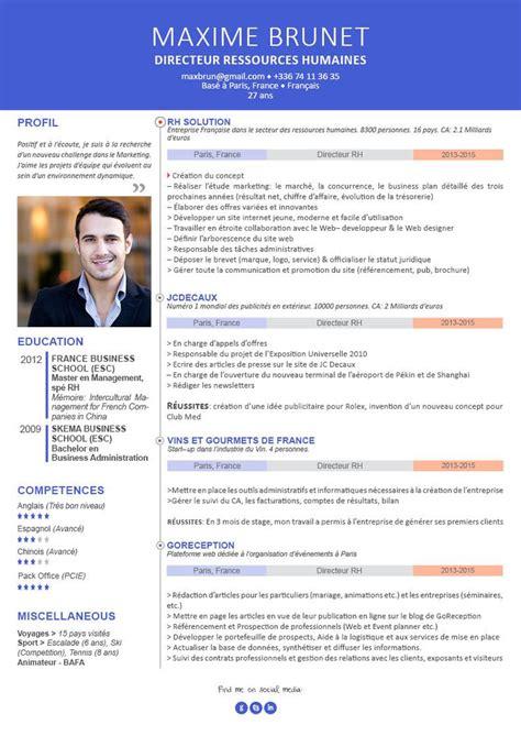 Modele Cv Cadre by Cv Pour Cadre Curriculum Vitae Professionnel