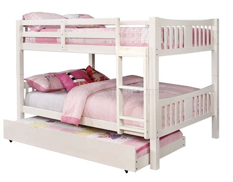 White Bunk Beds With Trundle Cameron Cm Bk929wh Bunk Bed In White W Optional Trundle