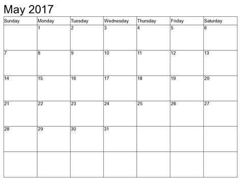 may 2017 calendar schedule template free