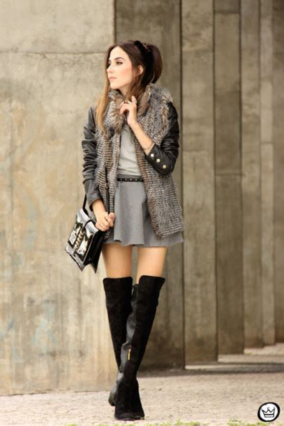 Rok Fashionable Sussan Brown Mini Skirt jacket fashion coolture skirt knee high boots