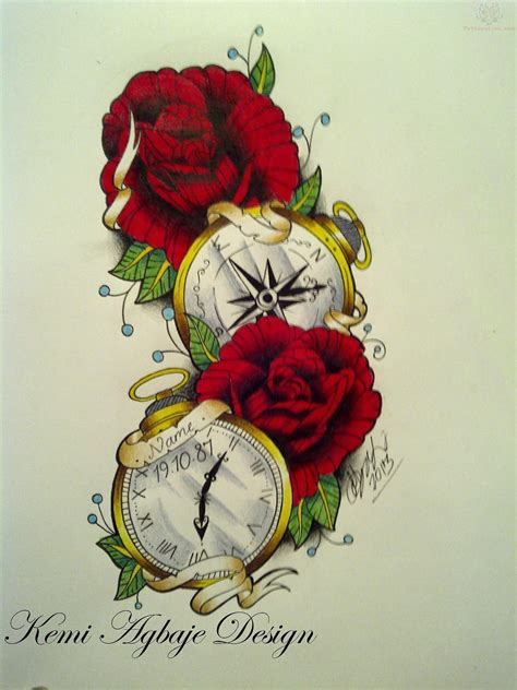 red tattoo designs roses and clock designs