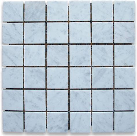 carrara white 2 x 2 square mosaic tile honed marble from
