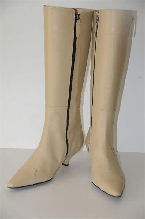 new tod s bone white leather kitten heel knee