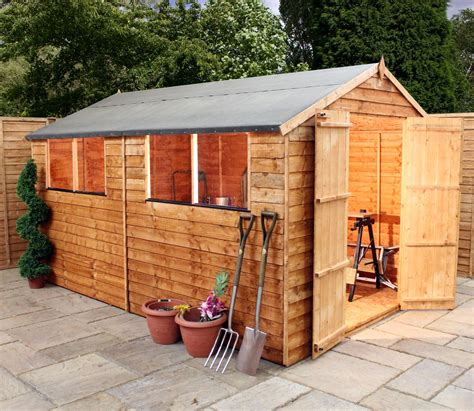 shedswarehouse oxford 12ft x 8ft saver overlap apex shed with doors 4