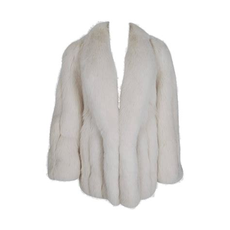Chubbie Collar by 1970 S Rosoff Couture Ivory White Arctic Fox Fur Wide