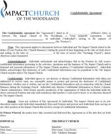 the church confidentiality agreement template can help you