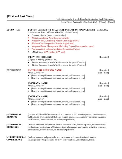 2nd Year MBA Resume Template