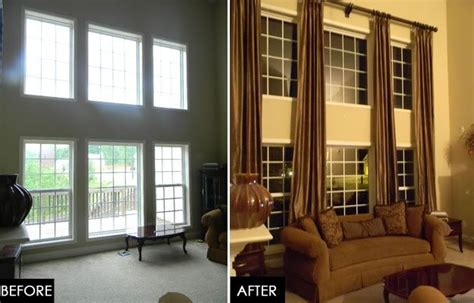 wall of windows curtains two story great room update tall window treatments