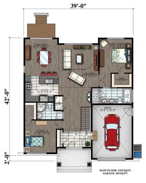 2 Bedrm 1325 Sq Ft Bungalow House Plan 158 1300 Small House Plans 1300 Square