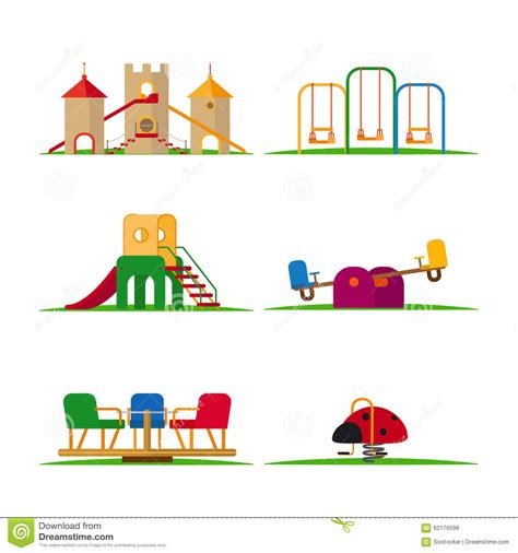 swing elements kids playground elements stock vector image 62176598