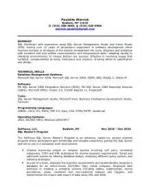 Pl Sql Programmer Sle Resume by Paulette Warrick Sql Developer Resume