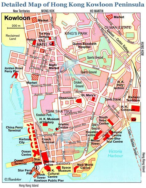printable street map of hong kong kowloon travel tourist maps