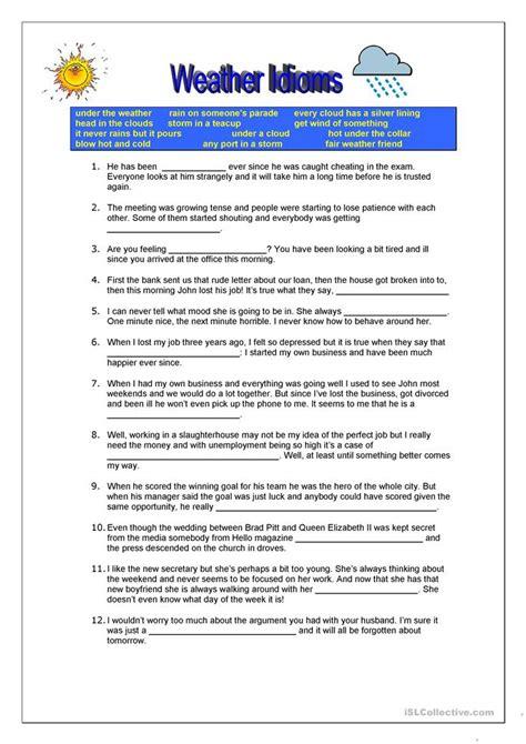 idiom worksheets weather idioms worksheet free esl printable worksheets made by teachers