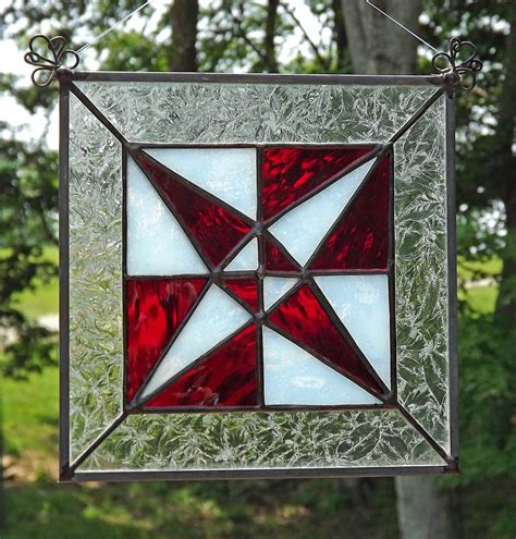 quilt pattern stained glass stained glass suncatcher quilt block panel dragonfly red