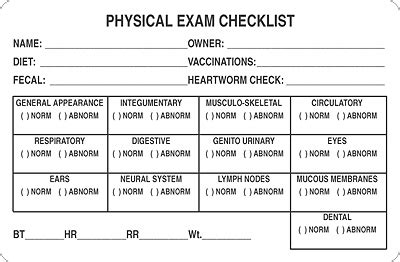 House Plans Physical Exam Checklist Physical Checklist Template