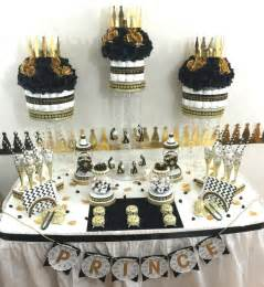 black and gold baby shower buffet centerpiece with