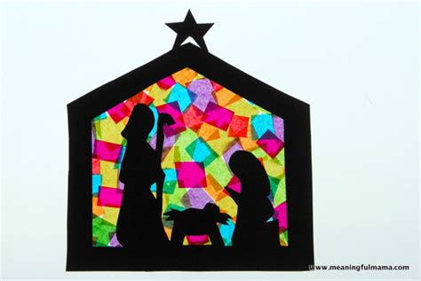 Stained Glass Paper Craft - stained glass nativity crafts
