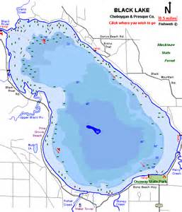 lake maps black lake map cheboygan county michigan fishing michigan