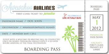 Pretend Plane Ticket Template by Actually Awewahoo Hawaiian Themed Date At Home
