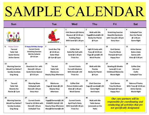 activity calendar september 2016 st francis center for