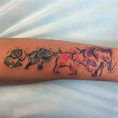 family design tattoo watercolor elephant family design for forearm