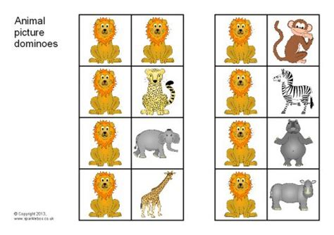 printable animal dominoes safari animal picture dominoes sb9288 sparklebox