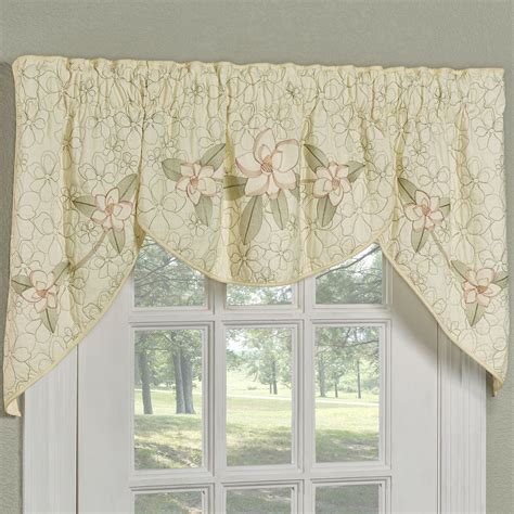 Swag Valances For Windows Designs Southern Magnolia Floral 3 Pc Swag Valance Set