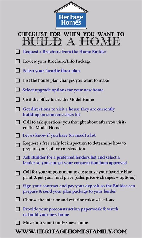 new home construction steps checklist of what to do when you want to build a home the