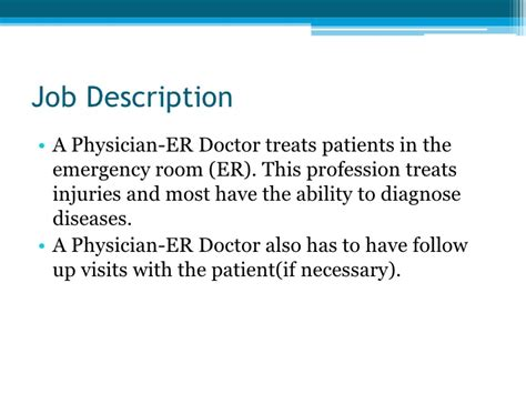 Emergency Room Description by Physician Er Doctor