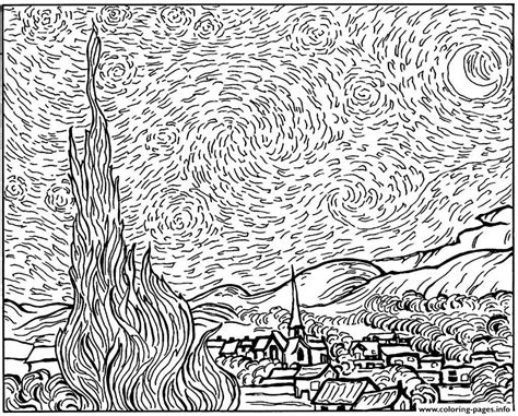 coloring pages van gogh starry starry night starry night coloring page az coloring pages