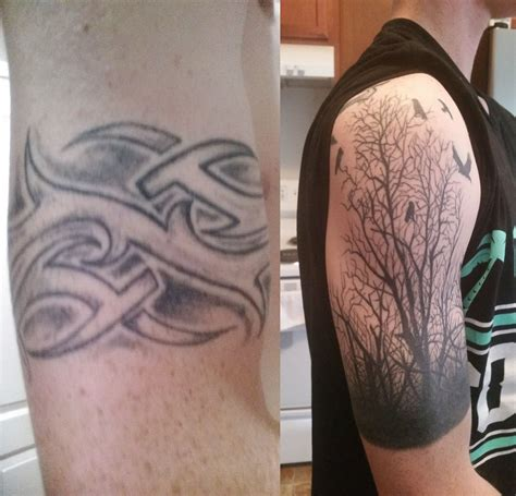 virginia beach tattoo before and after tribal cover up by vb ink