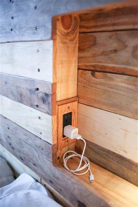 Modern Electrical Outlets by Pallet Headboard With Lighting Pallet Furniture Diy