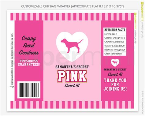 templates for bag of chips invitations custom victorias secret themed pink stripes with dog chip bag