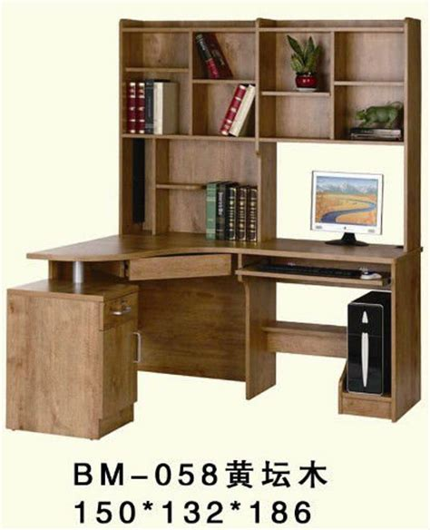 large corner wooden studyroom computer desk with bookshelf