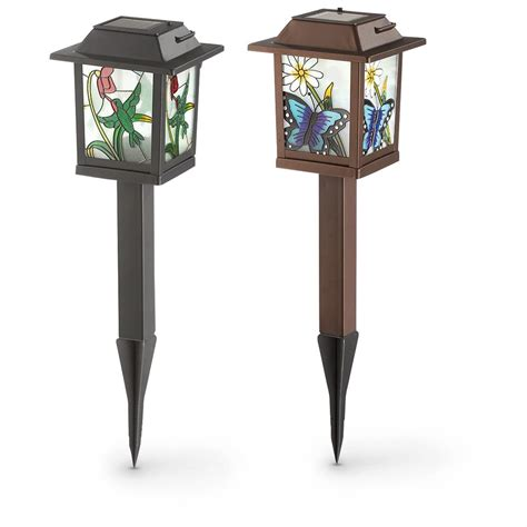 2 Stained Glass Look Solar Lanterns 627577 Solar Stained Glass Solar Lights