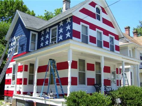 Flag House someone supposedly paints house like an american flag in