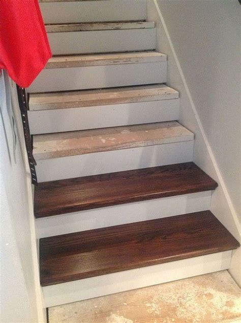 cellar stairs rug cheater trick for getting rid of carpet stairs basement stairs basement ideas and stair redo