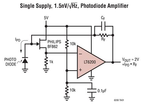 pin photodiode noise lt6201 dual 165mhz rail to rail input and output 0 95nv hz low noise op family