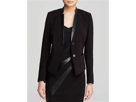 faux leather blazer basler blazer faux leather trim in black lyst